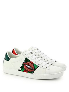 Gucci Ace Lip-Embroidered Leather Low-Top Sneakers