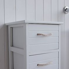 Close image to show rope handles on slim tall bathroom drawers