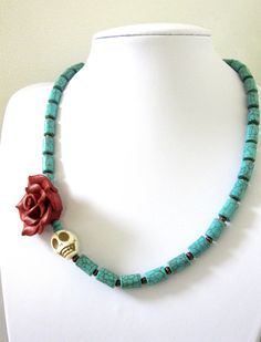 White Red Rose Day of the Dead Necklace Sugar Skull Jewelry Turquoise Blue. $29.99, via Etsy.
