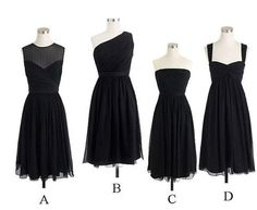 Four Styles Black Short Knee Length beautiful Chiffon A Line Bridesmaid Dress