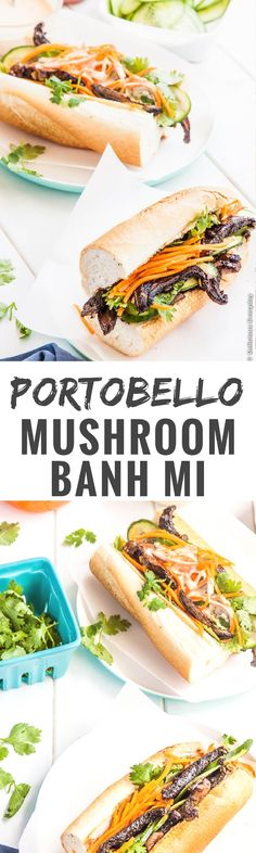 Juicy portobello mushrooms and crispy baguettes come together in this vegetarian spin on the Vietnamese classic banh mì.