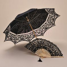 Unique Parasol Fan Black Wedding Hand Fan Black Bridal by ALICEPUB (£19) via Polyvore