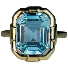 Art Deco Aquamarine Gold Ring from 1stdibs
