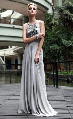 grey sleeveless long evening dress