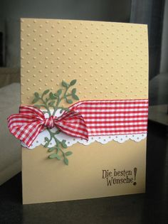 handmade Christmas card ... kraft base ... like that half is embossed with dots and the other left smooth ... edge punched white band topped with wide red gingham ribbon .. like the homespun feel of this card ... Stampin' Up!