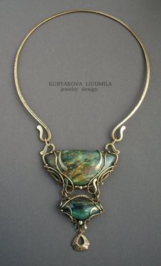 "Necklace | Kuryakova Liudmila.  ""Tales of an ancient wood"".  Brass,  fuchsia (fuksitovy slate), patina"