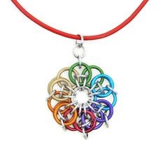 Rainbow Chainmaille Pendant Leather Cord Necklace by Lehane