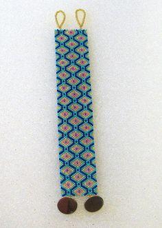 Beaded Cuff Bracelet In Turquoise,Navy from TheBeadedDiamond