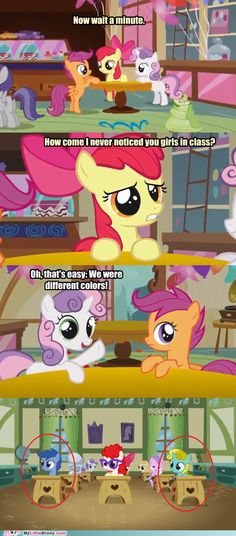"haha! every time I watch that one I'm always like ""look, it's sweetie belle, and Scootaloo in different colors!"" and then I find this."