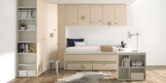 Life Box R2014-05. Cama nido con dos camas y dos cajones, armario rincón y altillos de puertas batientes.