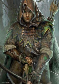 m Ranger Med Armor Cloak Longbow deciduous forest