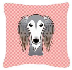 Checkerboard Saluki Indoor/Outdoor Throw Pillow