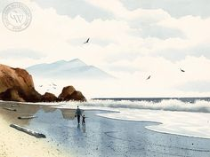 Drawing On Creativity Walk on the Beach - A California art print on Arches watercolor paper. archival, and printed in HD. Watercolor Ocean, Arches Watercolor Paper, Watercolor Painting Techniques, Watercolor Landscape Paintings, Seascape Paintings, California Art, Coastal Art, Am Meer, Beach Walk