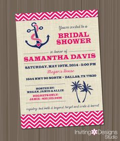 Nautical Bridal Shower Invitation Wedding by InvitingDesignStudio, $18.00