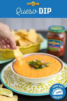 Heat up your favorite melting cheese with Ortega's Homestyle Salsa for a quick and easy Queso Dip that pairs perfectly with a game day viewing party. Add a can of Ortega Diced Green Chiles for an extra kick! World Recipes, Dip Recipes, Mexican Food Recipes, Crockpot Recipes, Snack Recipes, Cooking Recipes, Appetizer Salads, Yummy Appetizers, Entrees