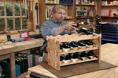 Build a Handsome Stained Cherry Wood Wine Rack as a Home Woodworking Project and Expand It Later