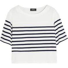 A.P.C. Atelier de Production et de Création Cropped striped cotton... (210 BRL) ❤ liked on Polyvore featuring tops, t-shirts, shirts, crop top, short sleeve, white, short sleeve shirts, t shirt, white crop tee and white tees