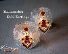 Traditional Gold Ear Ring in 22Kt with Red Stone  Buy Now :http://buff.ly/1P51y6o COD Option Available With Free Shipping In India