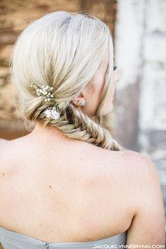 bridesmaid hair, wedding hair, bridal hair, fishtail braid, weddings, farm wedding, braid, hair