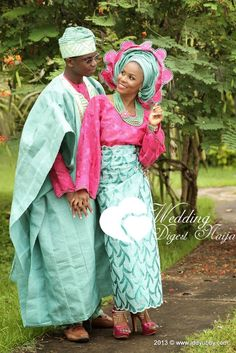 Nigerian Couple in a traditional Pink mint attire