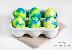 10 Easy Easter EggIdeas: use paper towels and food coloring to create a tie dye effect