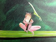 Sitting in the rain 12 x 24 frog holding leaf by MichaelHProsper Paintings I Love, Love Painting, Paintings For Sale, Painting & Drawing, Frog Sitting, Original Art, Original Paintings, Titanium White, Mans Best Friend