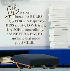 LIFE IS SHORT QUOTE LOVE HAPPY INSPIRATIONAL VINAL WALL STICKER DECAL