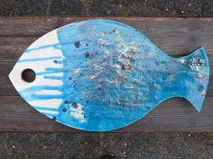 SALE Platte 'Blauer Fisch' RakuKeramik von bothendsburning auf Etsy