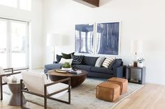 Shop NAVY COLLECTION 1, NAVY COLLECTION 2, (SIMILAR) Sofa, Concrete Accent Table, leather pouf, STUDIO FLOOR LAMP, JENSEN COFFEE TABLE, MASINISSA, gorge grid bowl, BRASS CUBE OBJECT, SATELLITE VASE IN WHITE and more