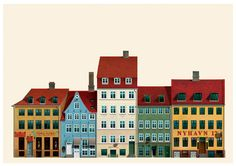 Copenhagen Nyhavn harbour houses |  Danish illustrator Martin Schwartz created a series of postcard illustrations of iconic Copenhagen buildings