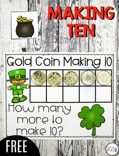 Leprechaun Making 10! A free math game for the month of March or around St. Patrick's Day with kindergarteners! Great way to work on counting and beginner addition! #Marchmath #St.Patrick'sDay #PlaydoughtoPlato #Mathfreebies #maketen