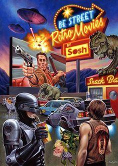 RoboCop on Retro Movies by Jason Edmiston Last Action Hero, Nostalgia Art, Image Film, Movie Poster Art, Retro Aesthetic, Back To The Future, Retro Futurism, Retro Art, Classic Movies