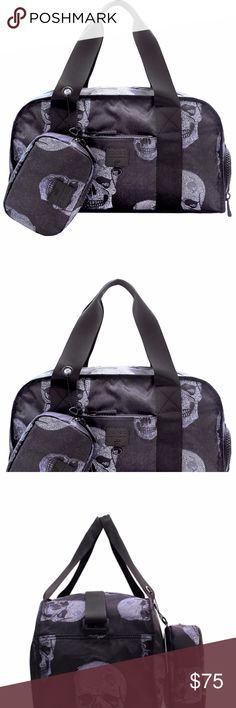 """Zara Terez Crystal Skull Premium Duffle This large Terez and Go!Sac Crystal Skulls Structured Duffle Bag, is water resistant and comfy to carry everything you need, includes inner and outer pockets, Nylon handles, and shoulder straps. The Duffle folds and packs into a matching case that comes with the bag.  Perfect for gym, dance class, travel, or just running around the city. Now you can go the gym in style!  Tote: 100% Polyester Handles: 100% NylonBag Body  Length18"""" Height9½"""" Depth8½""""…"""