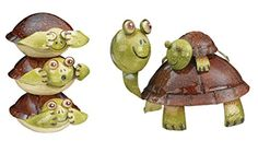 Regal Art & Gift No Evil Turtle and Piggy Back Turtle Decor. These metal stacking turtles are adorable and sturdy with hand-painted detail and a glossy finish. Red Ear Turtle, Turtle Day, Turtle Rock, Pet Turtle, Tortoise Turtle, Kinds Of Turtles, Turtle Homes, Butterfly Feeder, Tortoises