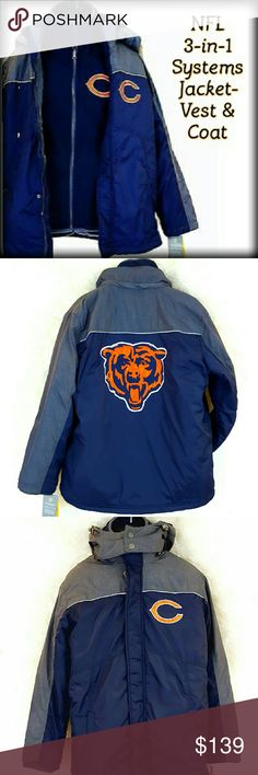 30%/2 New NFL Bears 3-n-1 Systems Jacket Vest Coat NFL CHICAGO BEARS OFFICIALLY LICENSED 3-in-1 Systems Jacket Navy, Gray, Orange, etc (blue looks lighter 1 pic NEW w/ TAGS $150.00  This men's Chicago Bears system jacket can be worn three ways for the ultimate in versatility.  Inner vest and outer shell can be worn together or apart depending on the weather.  When worn together both a front zip & snaps keep the 2 layers joined. Removable hood Shell A: nylon/polyester;B: Nylon; Vest,Filler…