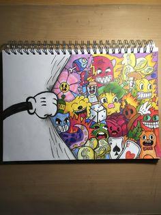 Art Sketchbook Drawing Sketch Books – Art World 20 Cute Doodle Art, Doodle Art Designs, Doodle Art Drawing, Cool Art Drawings, Pencil Art Drawings, Art Drawings Sketches, Crazy Drawings, Graffiti Doodles, Graffiti Drawing