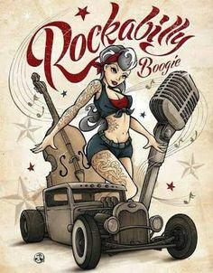 Resultado de imagen de pin up rockabilly dibujo