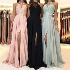 Charming Lace Halter Long Chiffon Split Evening Gowns Formal Prom Dresses sold by Hot Lady on Storenvy Pretty Prom Dresses, Hoco Dresses, Lace Evening Dresses, Ball Dresses, Sexy Dresses, Evening Gowns, Formal Dresses, Chiffon Dresses, Lace Chiffon