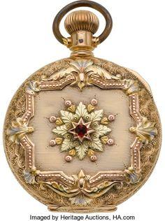 Timepieces:Pocket (post 1900), Elgin 14k Multi-Color Gold 6 Size Hunter's Case Pocket Watch. ...