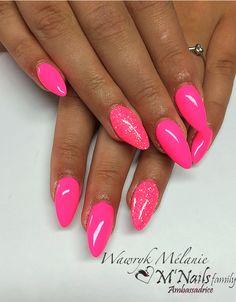 Almond Shape Nails, Almond Nails, Hot Pink Nails, Wattpad, Pink Nail Designs, Cool Nail Art, Hair And Nails, Nail Polish, Shapes