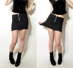 Vintage 90's Grunge Black  Stretchy Zip Front Mini Skirt by Ramaci