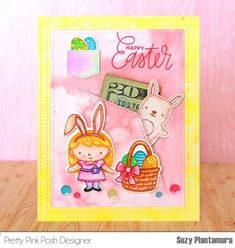 PPP- This pocket card uses the Easter Friends Stamp Set and Die Set.  Background cut w Stitched Notes Dies. I watercolored the outside of the die-cut border with yellow watercolors and the inside of the frame with pink watercolors. I die-cut the stitched pocket in the center of the inside piece and added a small pocket. Images stamped and watercolored. Outlined them and added details w glitter pens. Sequins:4mm and 6mm Fresh Garden Sequin Mixes. I tucked a $20 bill into the pocket