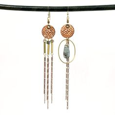 RESERVED FOR JC Asymmetric copper disc duster earrings – TOODLEBUNNY