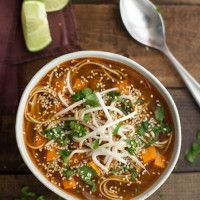Sweet Potato Sriracha Noodle Soup: sesame oil, red onion, garlic, fresh ginger, vegetable broth, lime, sriracha, soy sauce, sweet potatoes, soba noodles, bean sprouts, cilantro, sesame seeds