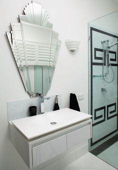 Art Deco mirror and bathroom design :