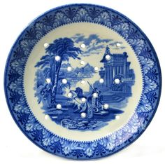 Blue and White Porcelain Draining Dish or Strainer with Landscape Decor by Cauldon, Antique English Victorian, circa 1900