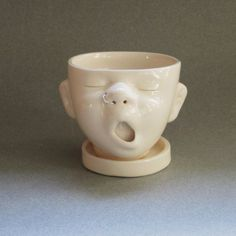 Small Baby Head Planter w/Nose Ring