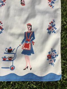 pair of Vintage Kitchen Dish Towels with the Maid and her Cart for the Coffee Break