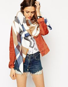 ASOS Oversized Square Scarf In Bold Coloured Check