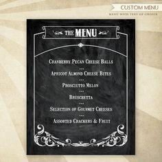 Rustic Wine & Cheese Custom Printable #Menu #HWTM #Etsy #Party #Wine #Chalkboard